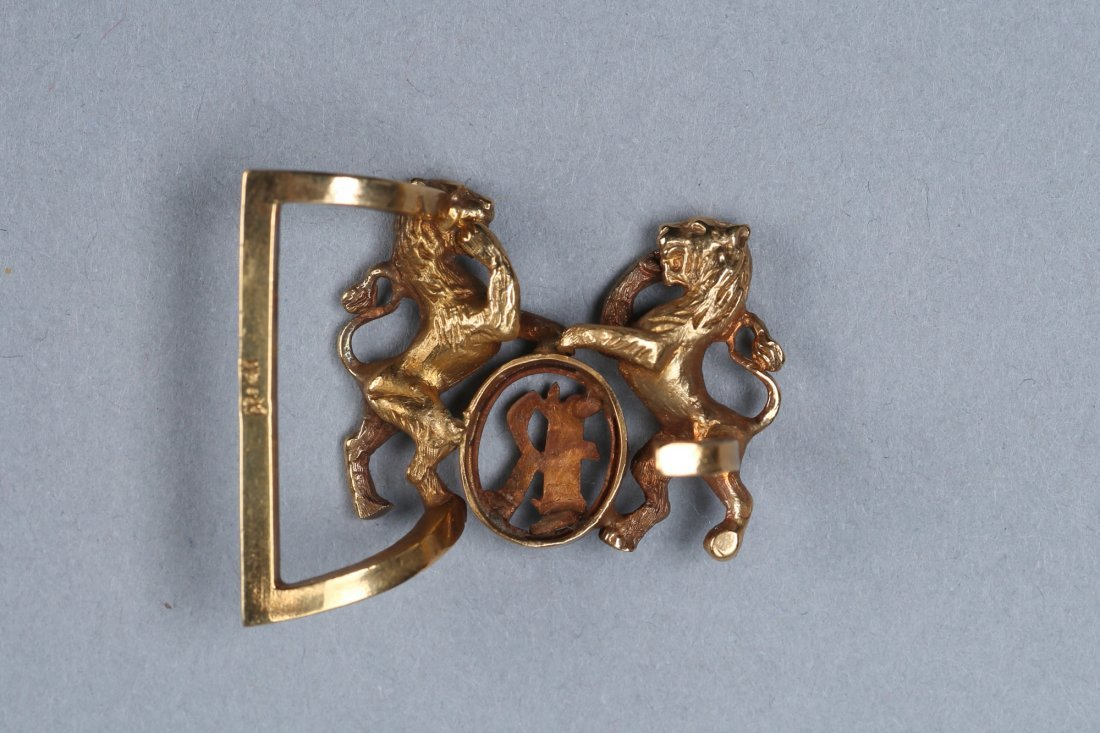 Vintage 14K Louis Rauch Lion Belt Buckle - 2