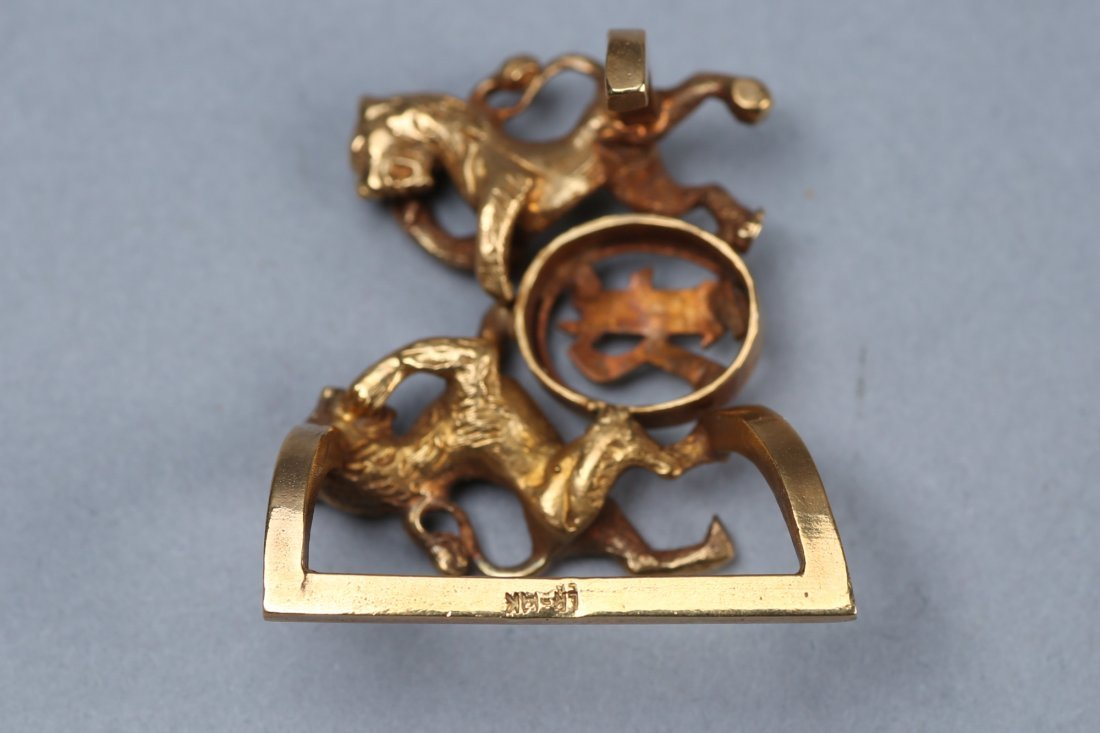 Vintage 14K Louis Rauch Lion Belt Buckle - 3
