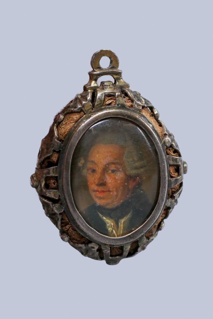 18th Century Painted Portrait Hair work Locket
