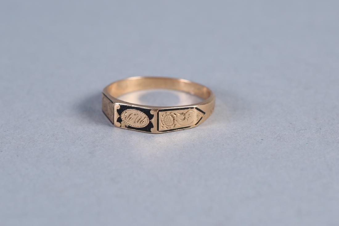 1847 14K  Hairwork Ring, Hidden Compartment