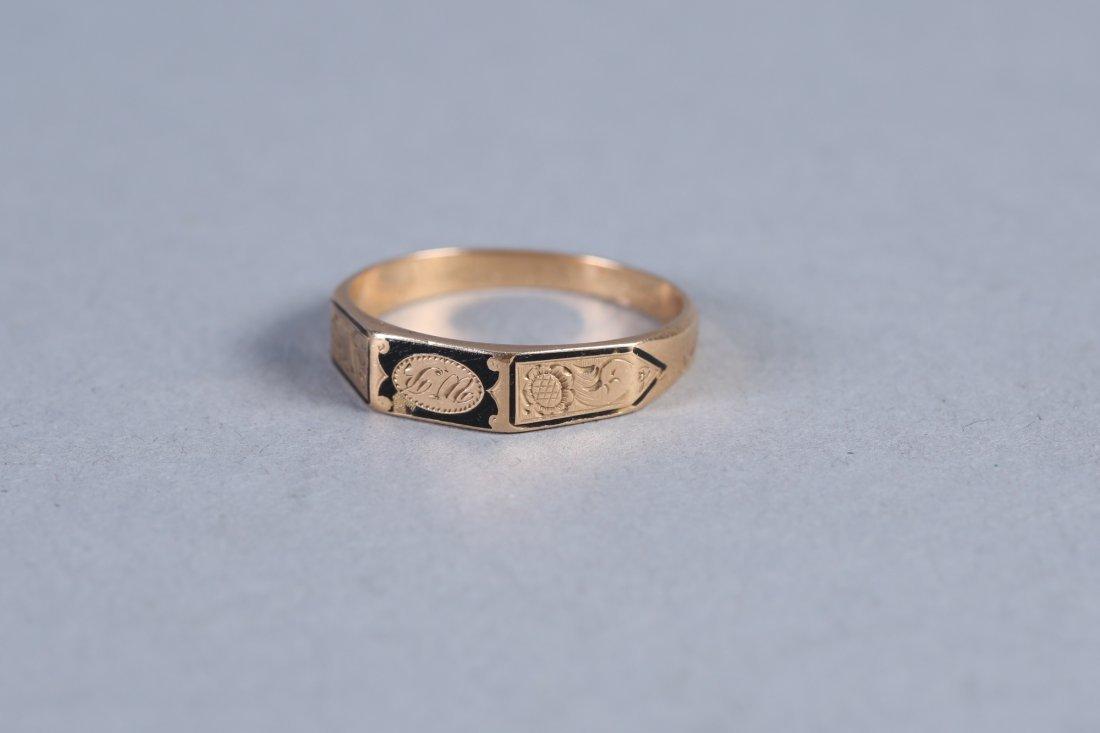 1847 14K  Hairwork Ring, Hidden Compartment - 2
