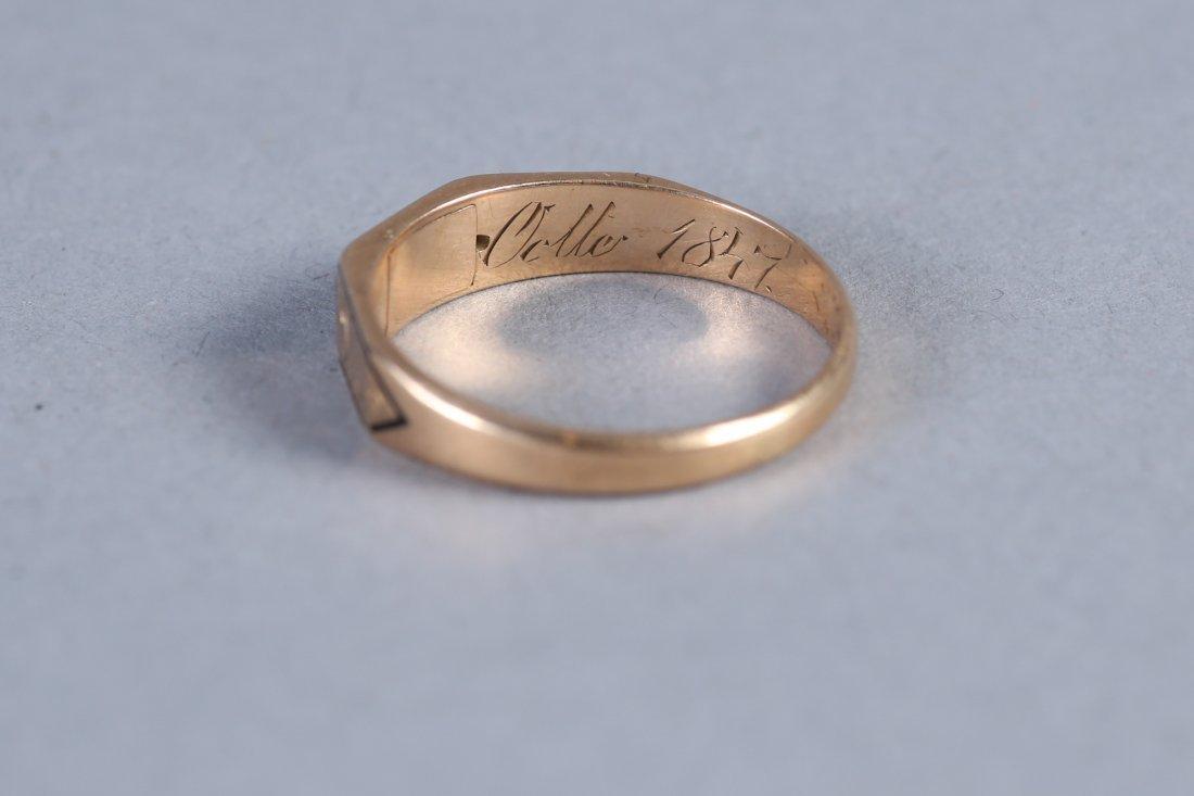 1847 14K  Hairwork Ring, Hidden Compartment - 3