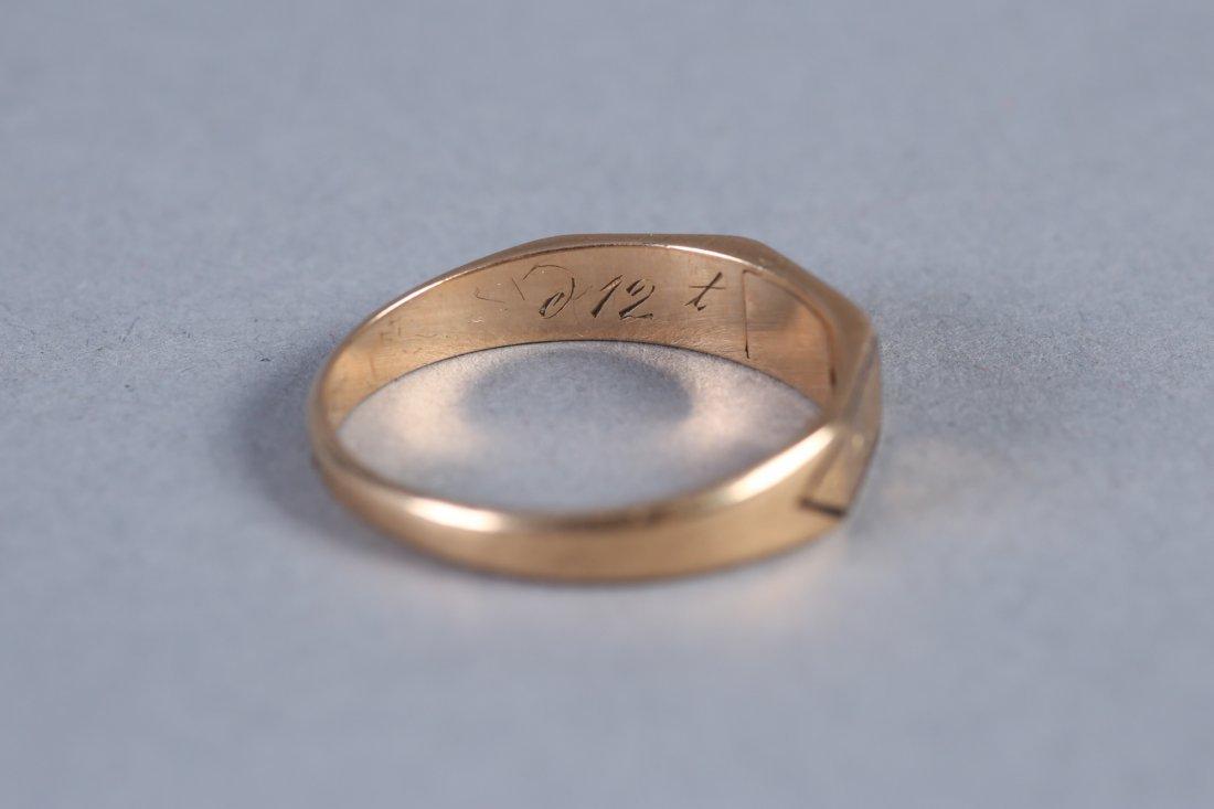 1847 14K  Hairwork Ring, Hidden Compartment - 5