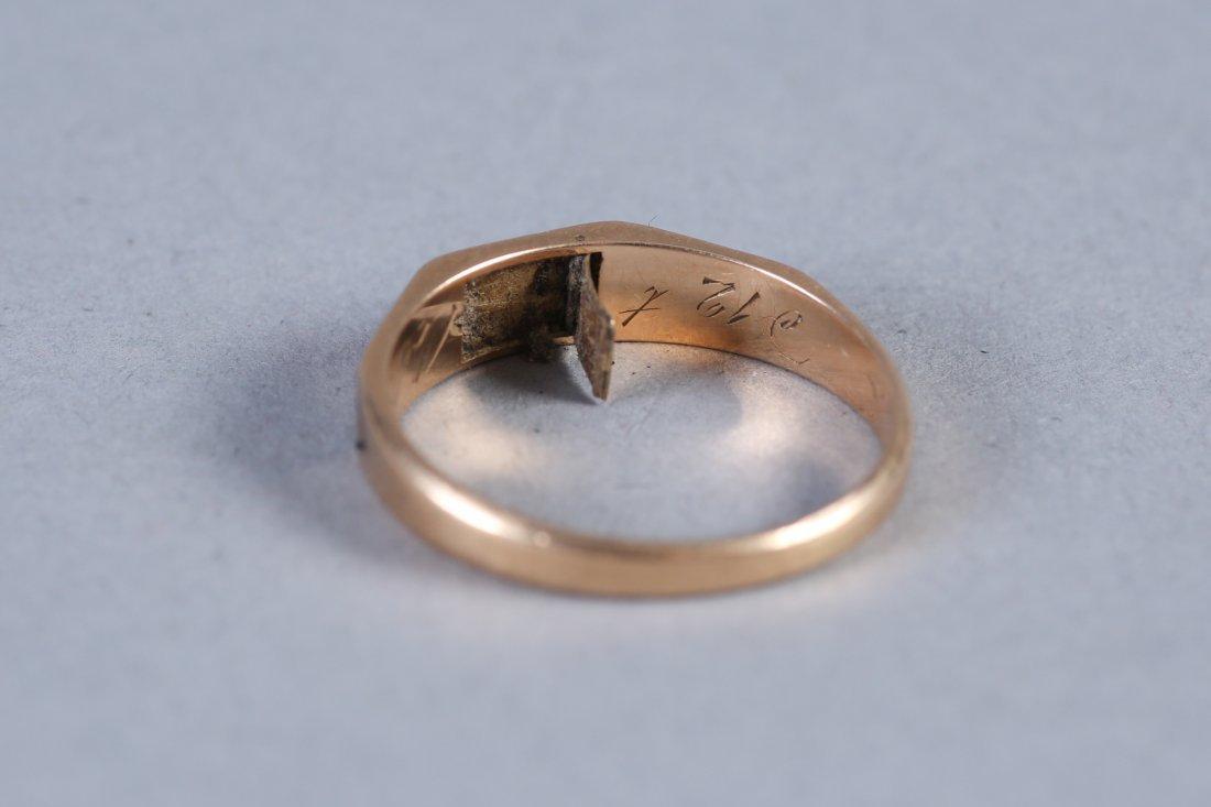 1847 14K  Hairwork Ring, Hidden Compartment - 7