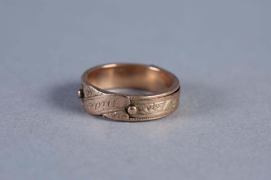 Victorian 14K Hinged Mourning Hairwork Ring