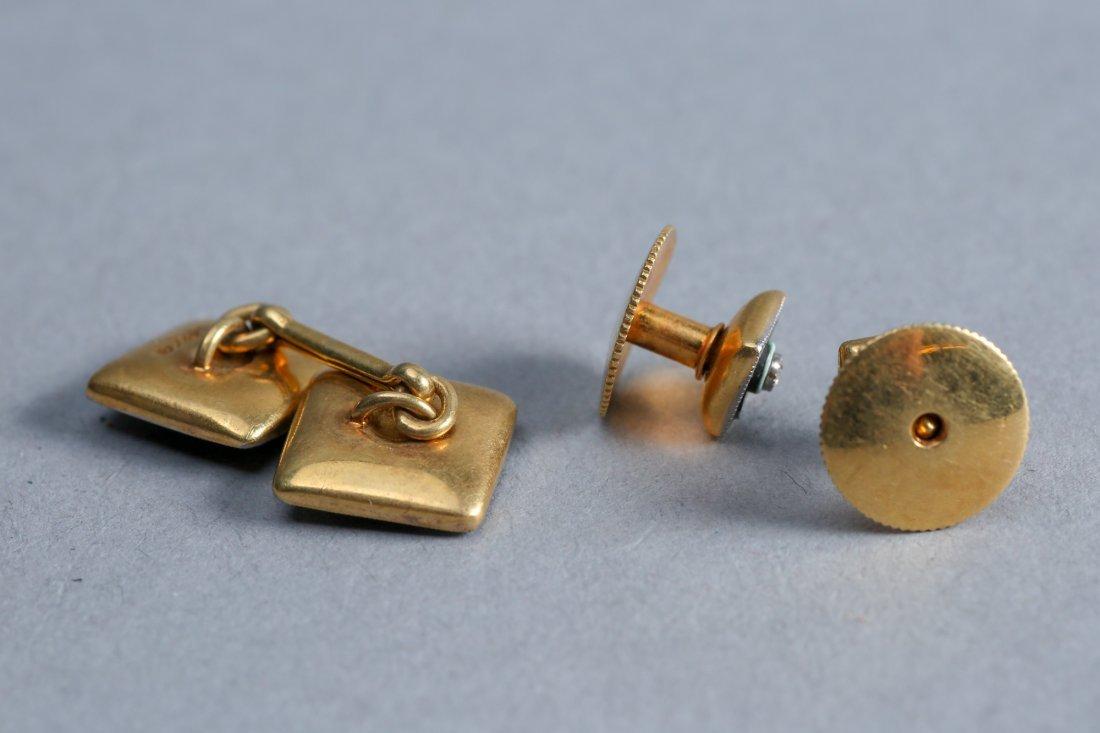 Art Deco 18K Enamel, Diamond,  Tie Tacks & Cufflink lot - 2