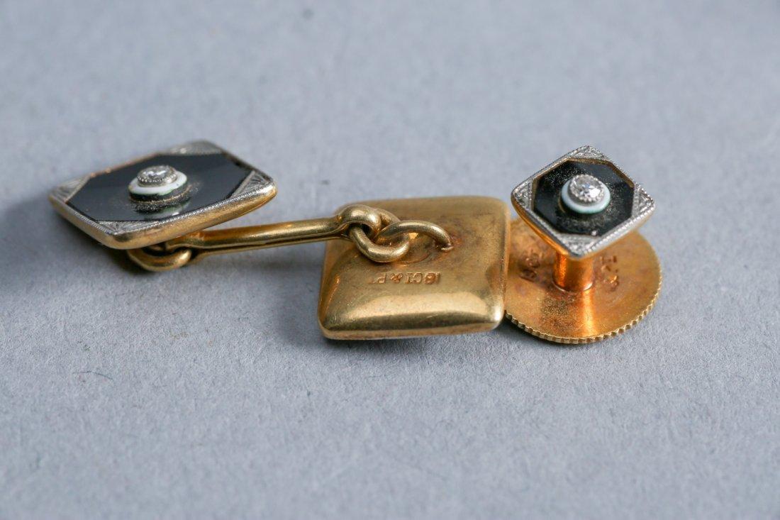 Art Deco 18K Enamel, Diamond,  Tie Tacks & Cufflink lot - 4