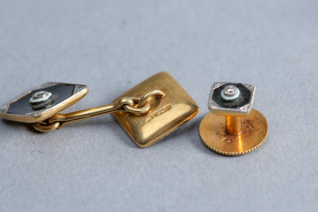 Art Deco 18K Enamel, Diamond,  Tie Tacks & Cufflink lot - 5