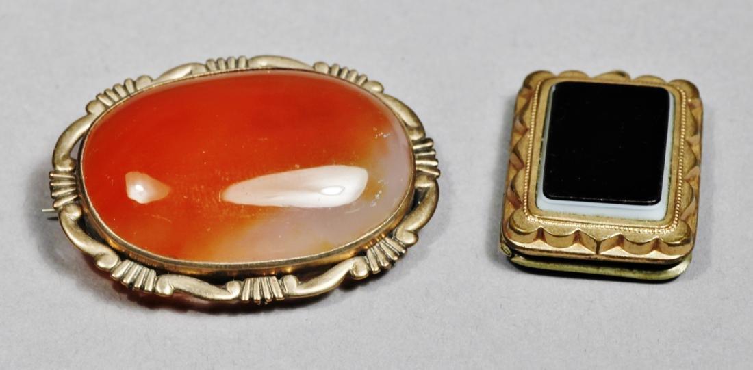 Victorian 12 k Agate stone, Plus Onyx Pendant