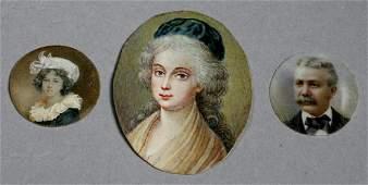 Antique Portrait Miniatures Hand painted