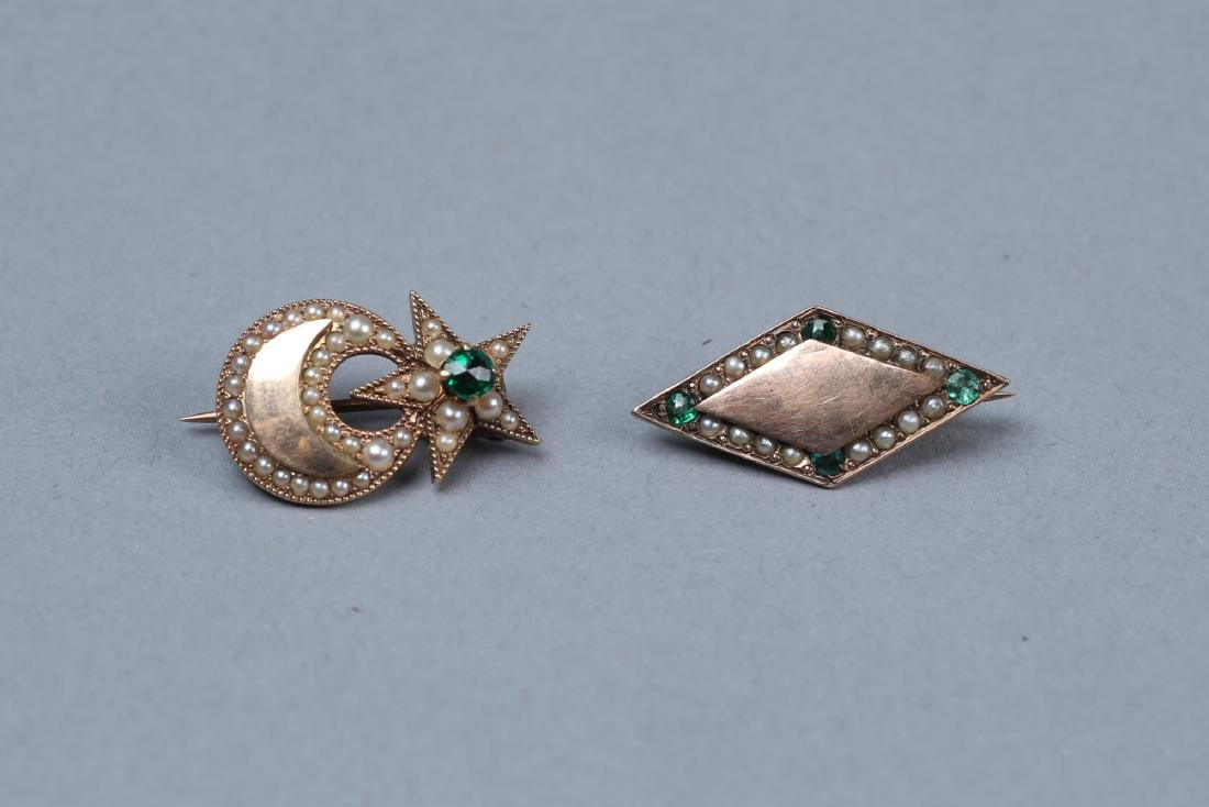 Antique 14K Gold/Emerald/Pearl Brooches