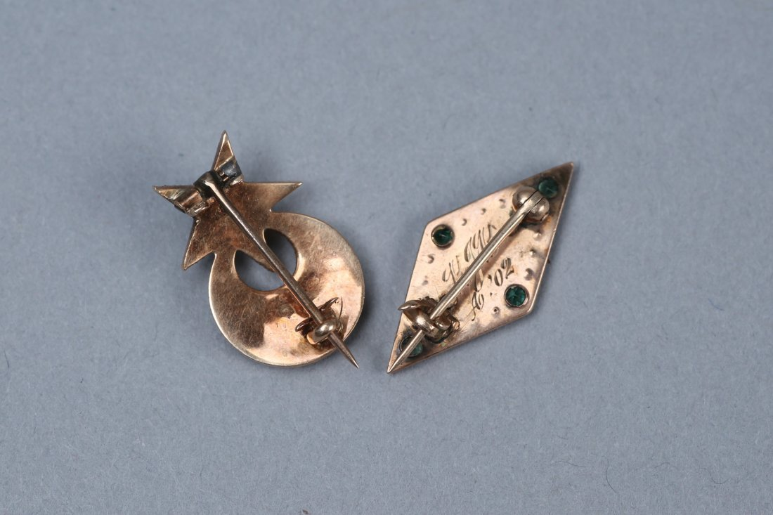 Antique 14K Gold/Emerald/Pearl Brooches - 2