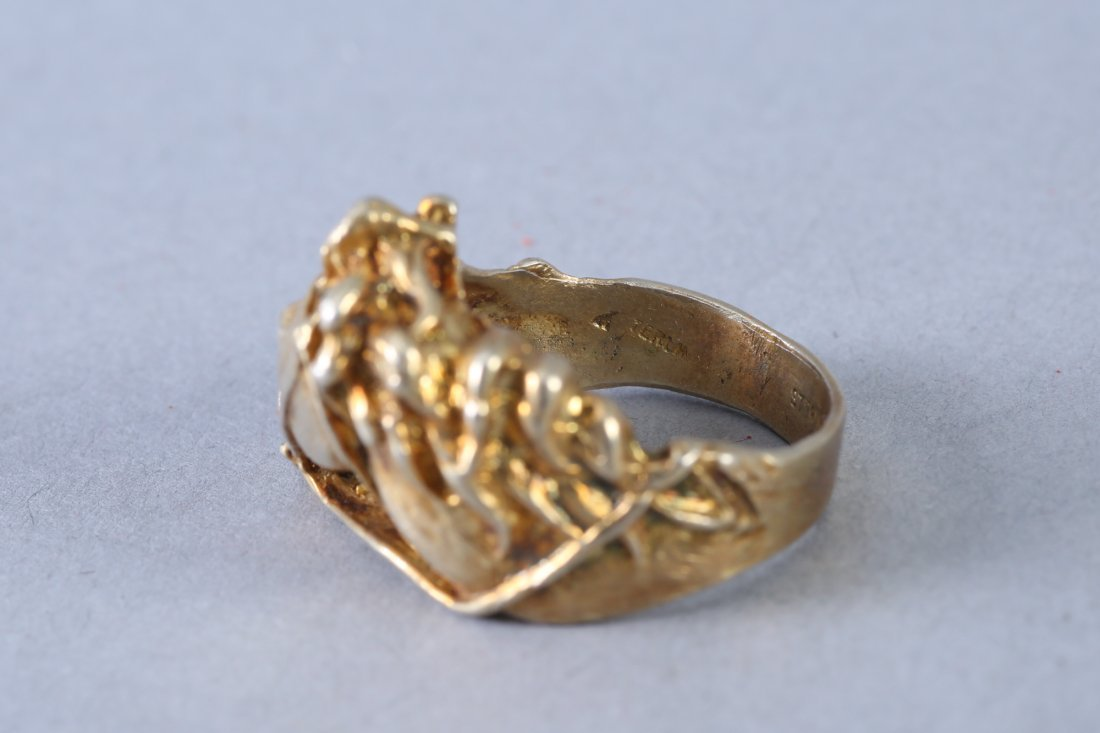 Large Horse Head Vintage Designer Sterling Ring - 3