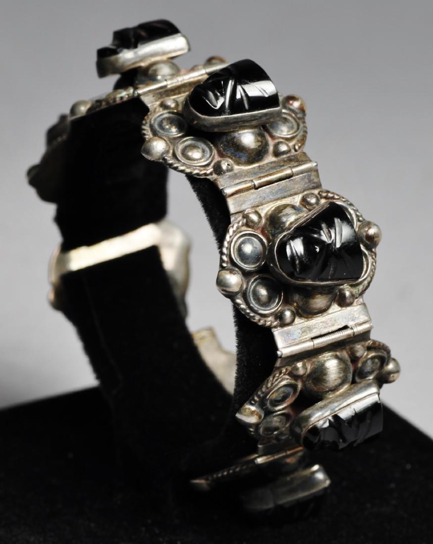 Vintage Mexican Sterling Aztec Mask Bracelet