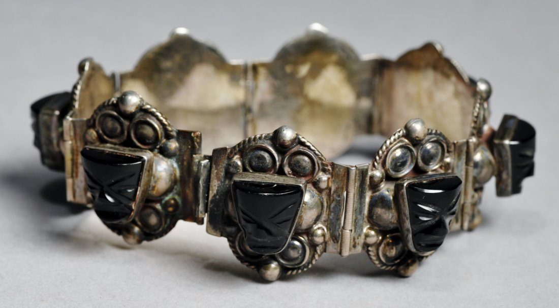 Vintage Mexican Sterling Aztec Mask Bracelet - 2