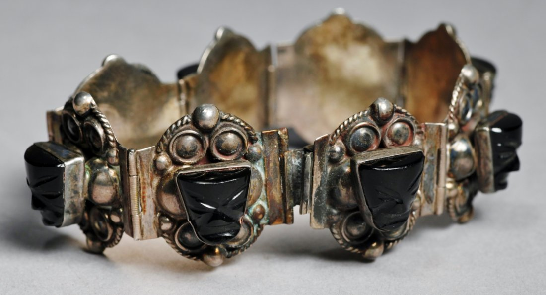 Vintage Mexican Sterling Aztec Mask Bracelet - 3