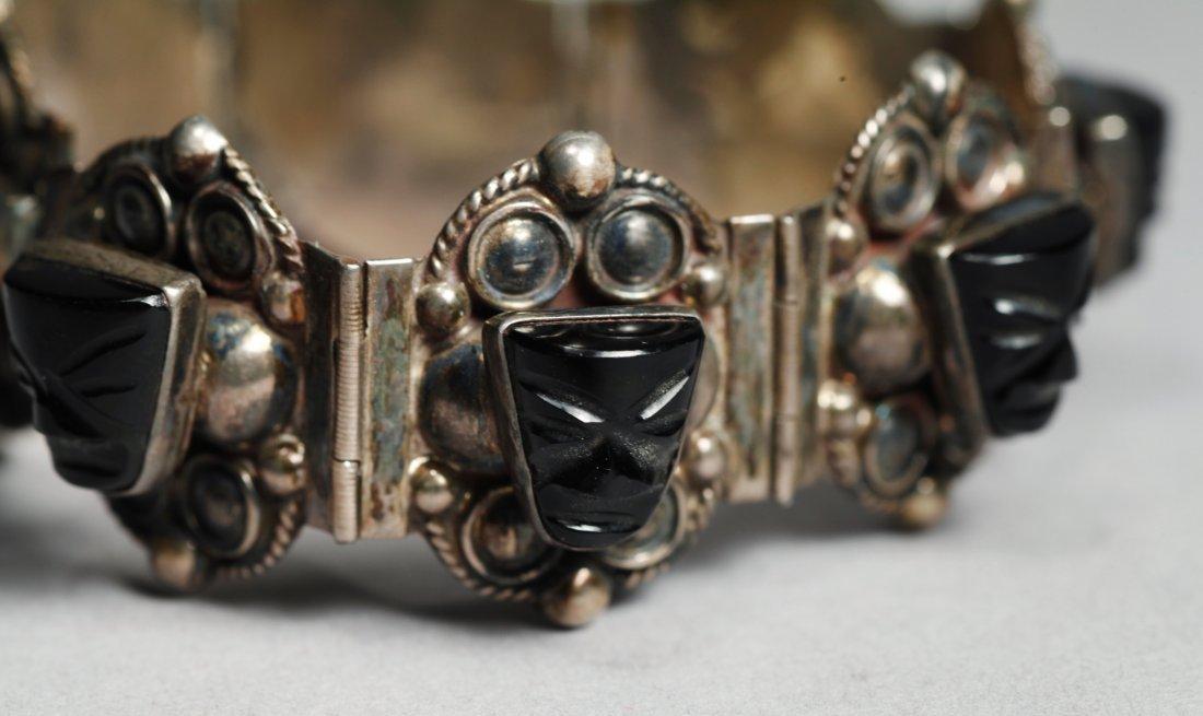 Vintage Mexican Sterling Aztec Mask Bracelet - 5