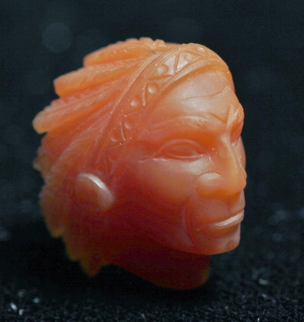 Vintage Carved Gemstone Indian Head Chalcedony