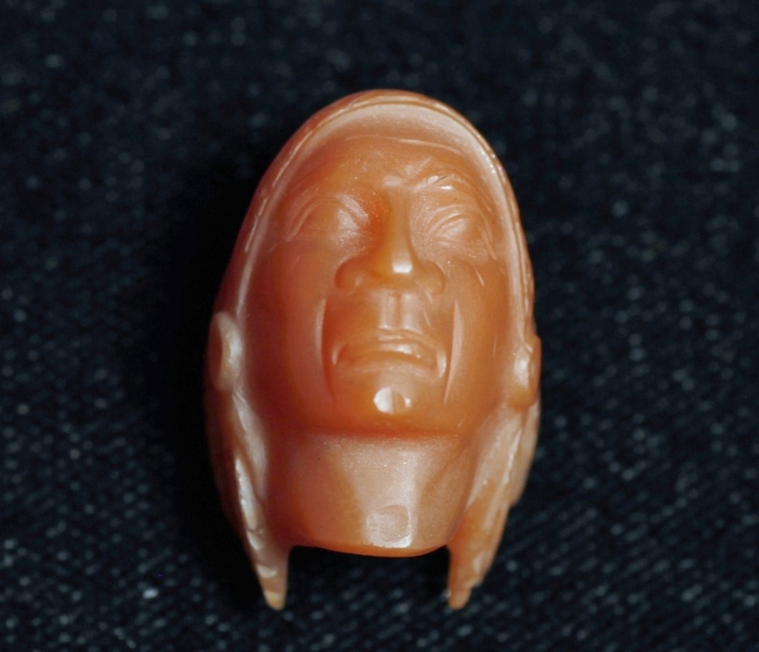 Vintage Carved Gemstone Indian Head Chalcedony - 5