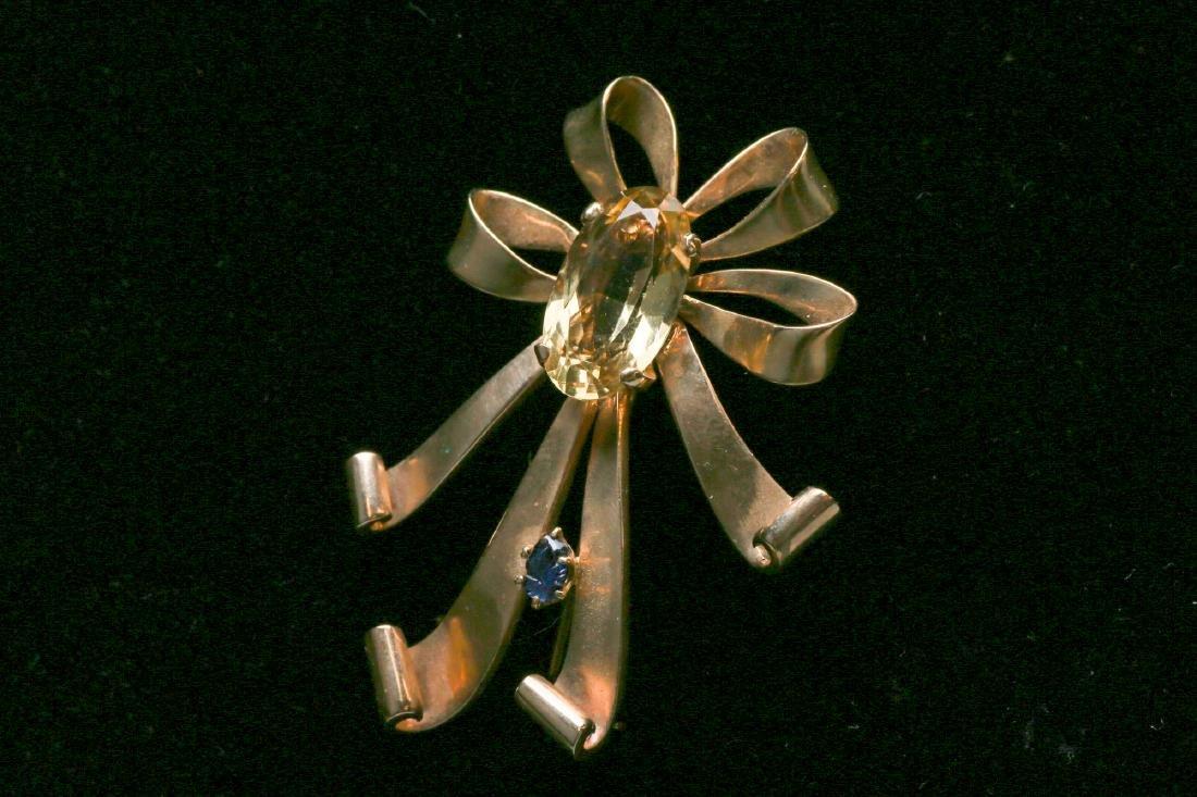 c1950 14K Gold Citrine & Sapphire Ribbon Brooch