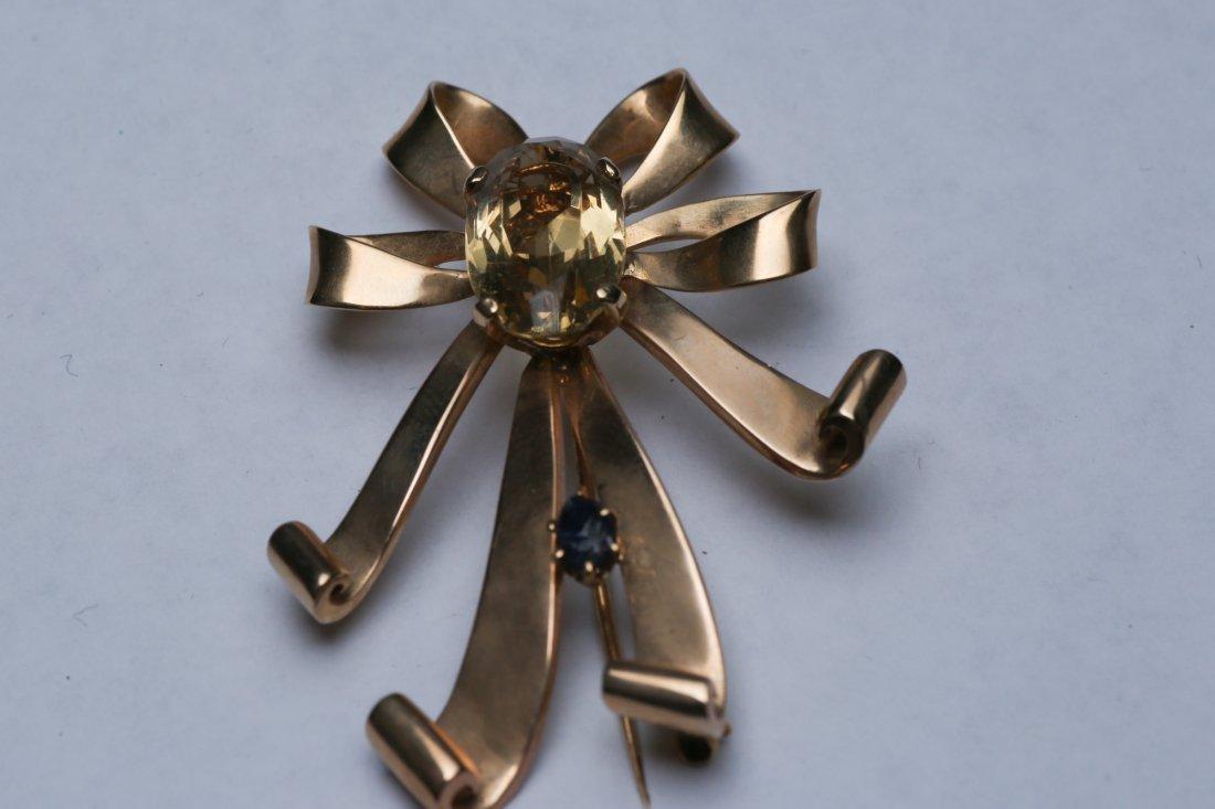 c1950 14K Gold Citrine & Sapphire Ribbon Brooch - 3