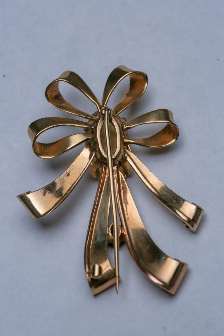 c1950 14K Gold Citrine & Sapphire Ribbon Brooch - 4