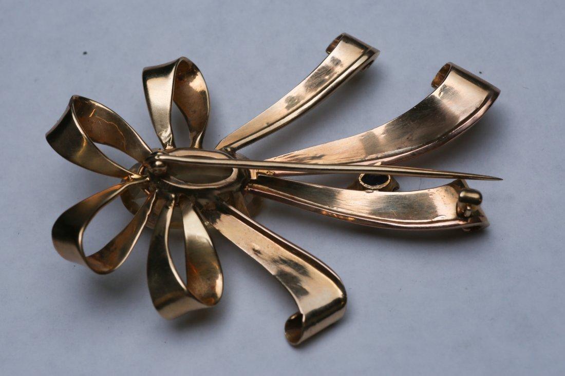 c1950 14K Gold Citrine & Sapphire Ribbon Brooch - 5