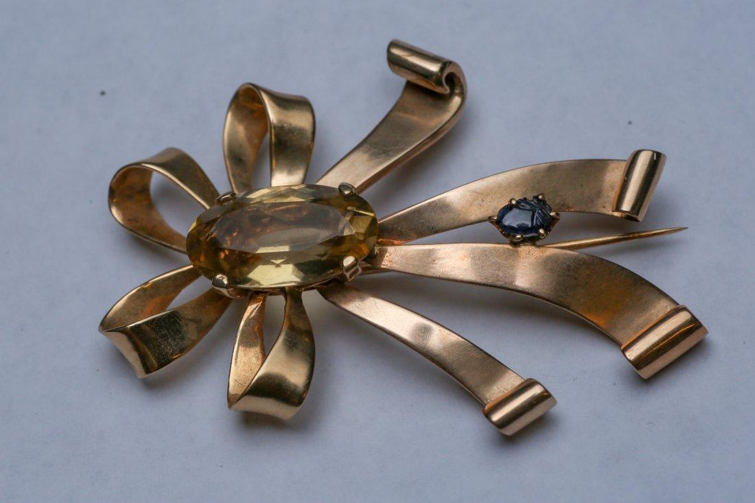c1950 14K Gold Citrine & Sapphire Ribbon Brooch - 6