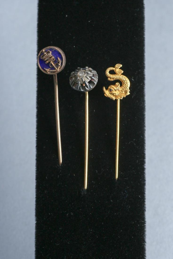 14K Gold  Antique Stickpin Lot Enamel