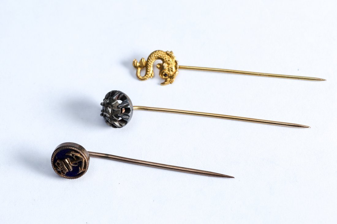 14K Gold  Antique Stickpin Lot Enamel - 2