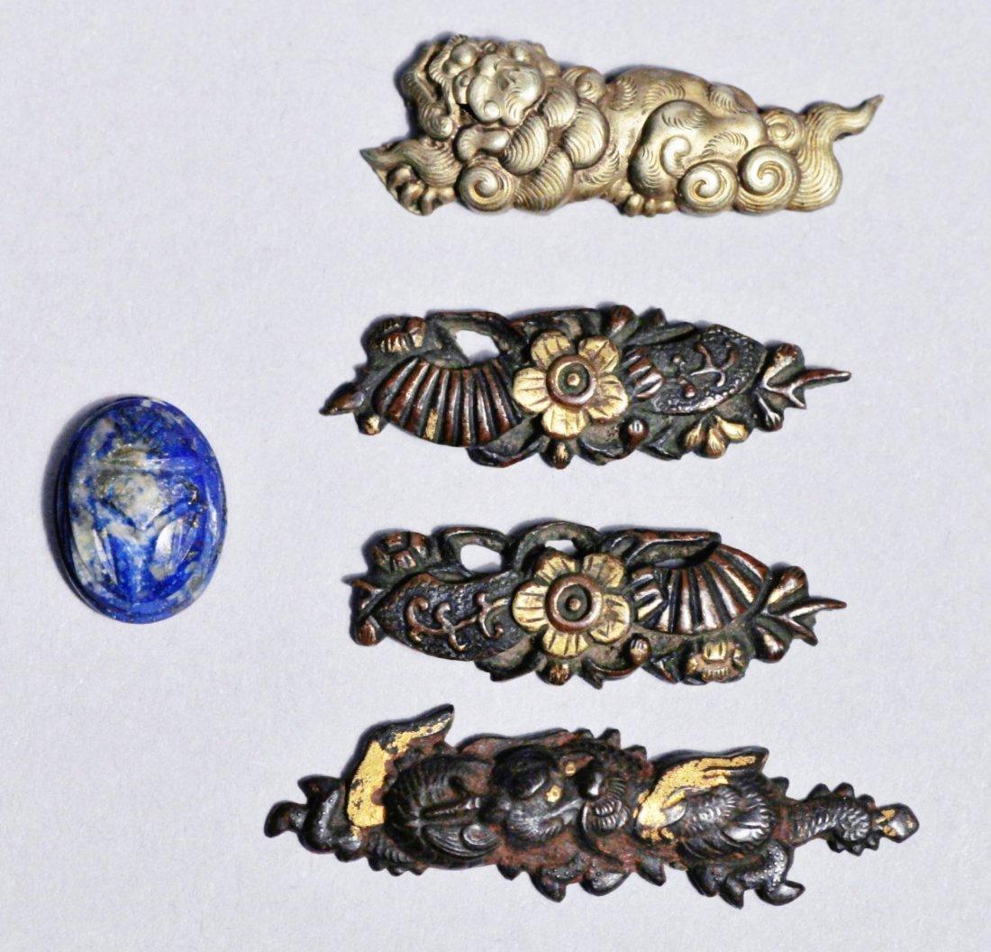 Japanese Menuki, Dragons, Floral, Signed Lapis Scarab