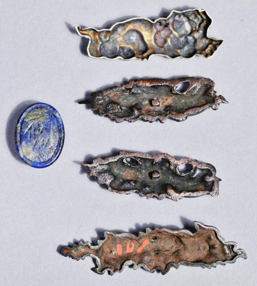 Japanese Menuki, Dragons, Floral, Signed Lapis Scarab - 2