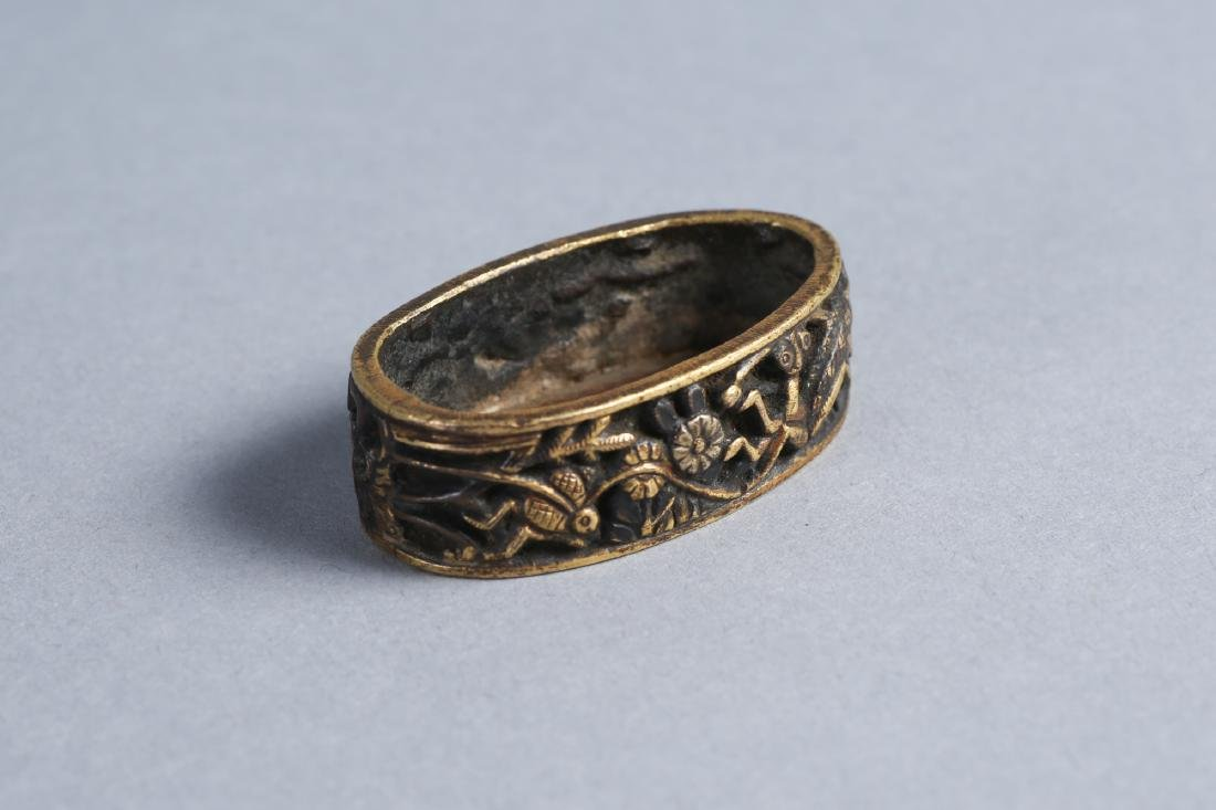 Edo Period Japanese Signed Fuchi, Fire Fly, Praying