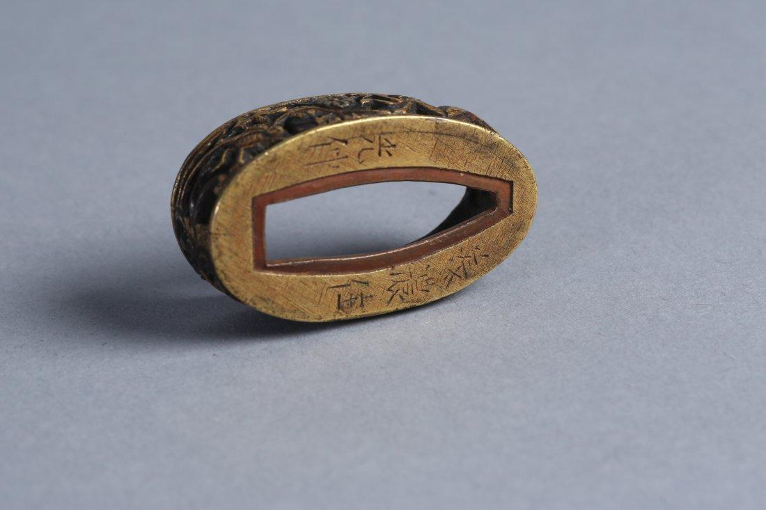 Edo Period Japanese Signed Fuchi, Fire Fly, Praying - 5