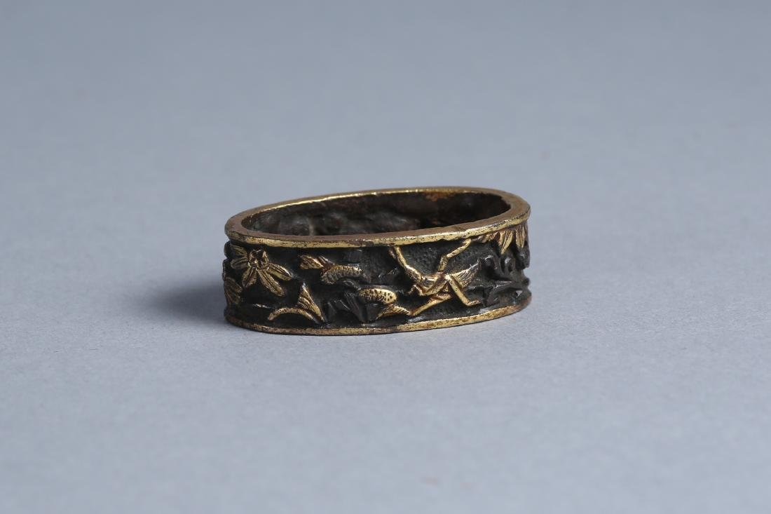 Japanese Fuchi, Bronze Flowers and Insects