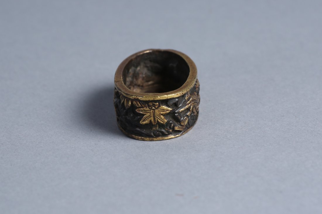 Japanese Fuchi, Bronze Flowers and Insects - 2