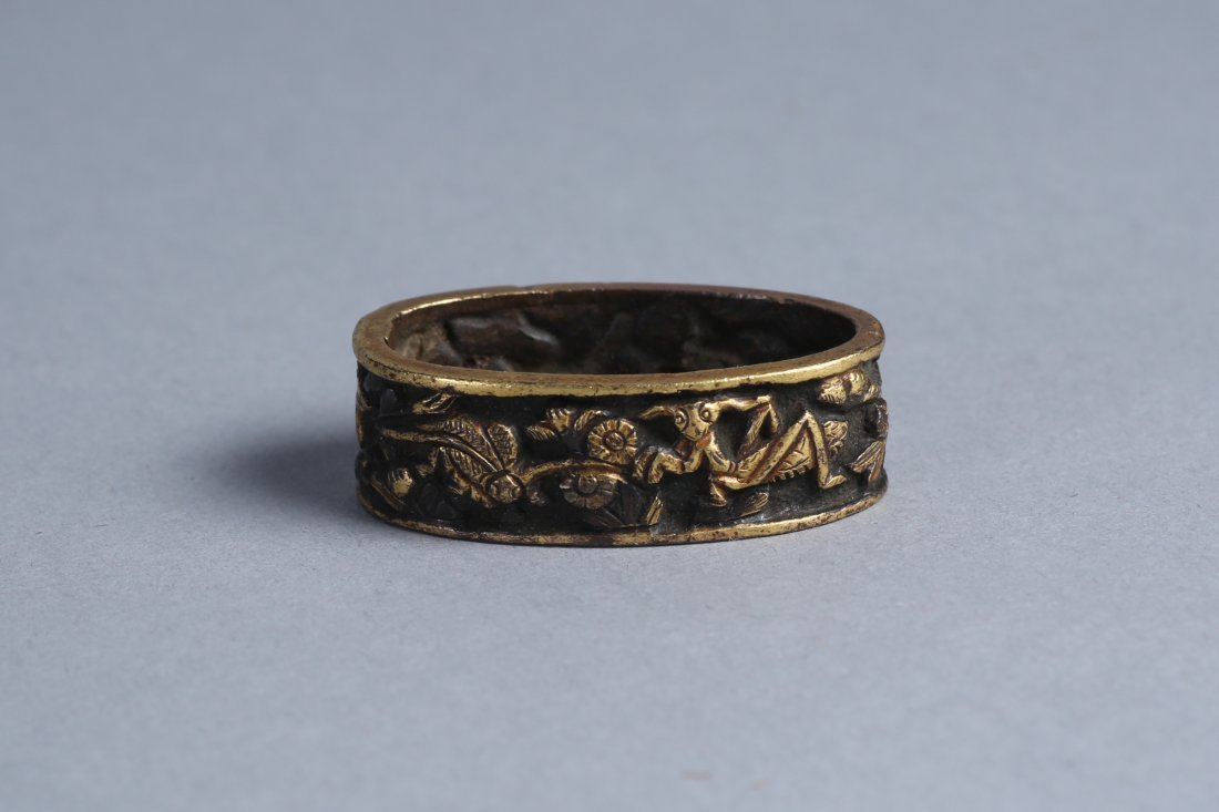 Japanese Fuchi, Bronze Flowers and Insects - 3