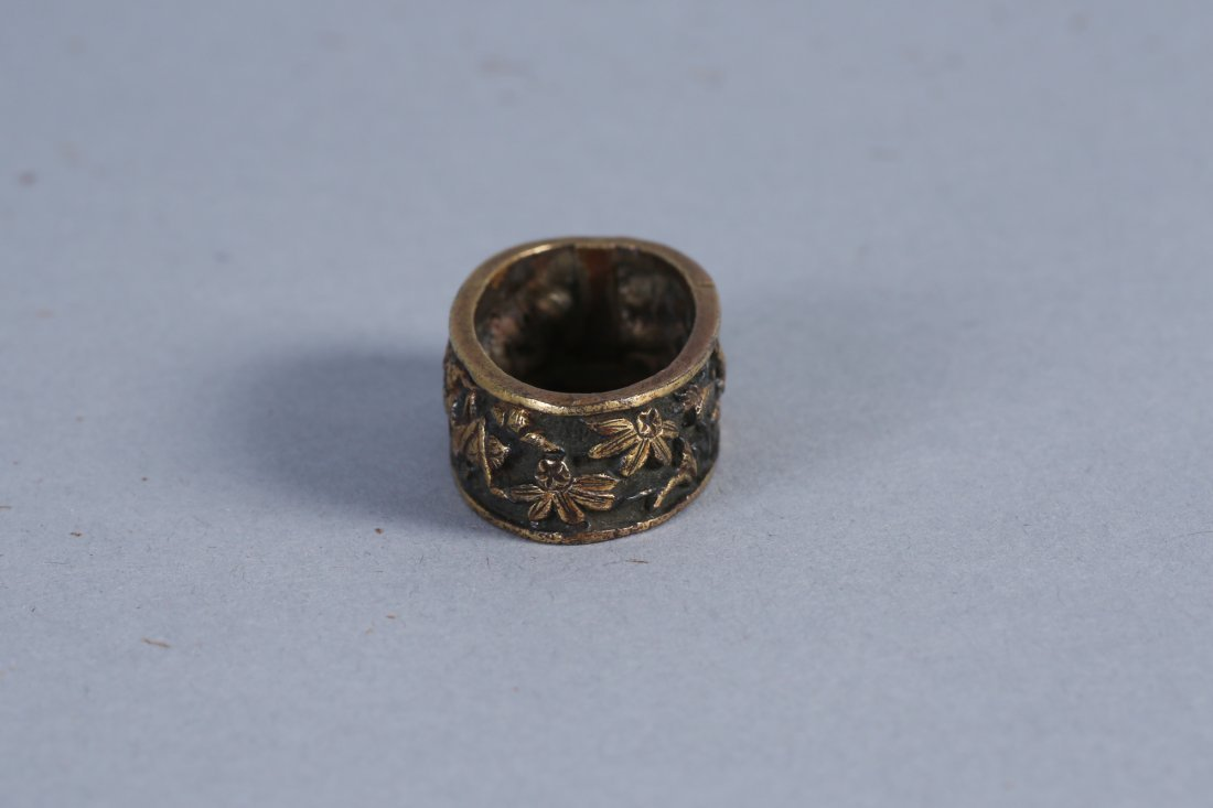 Japanese Fuchi, Bronze Flowers and Insects - 4