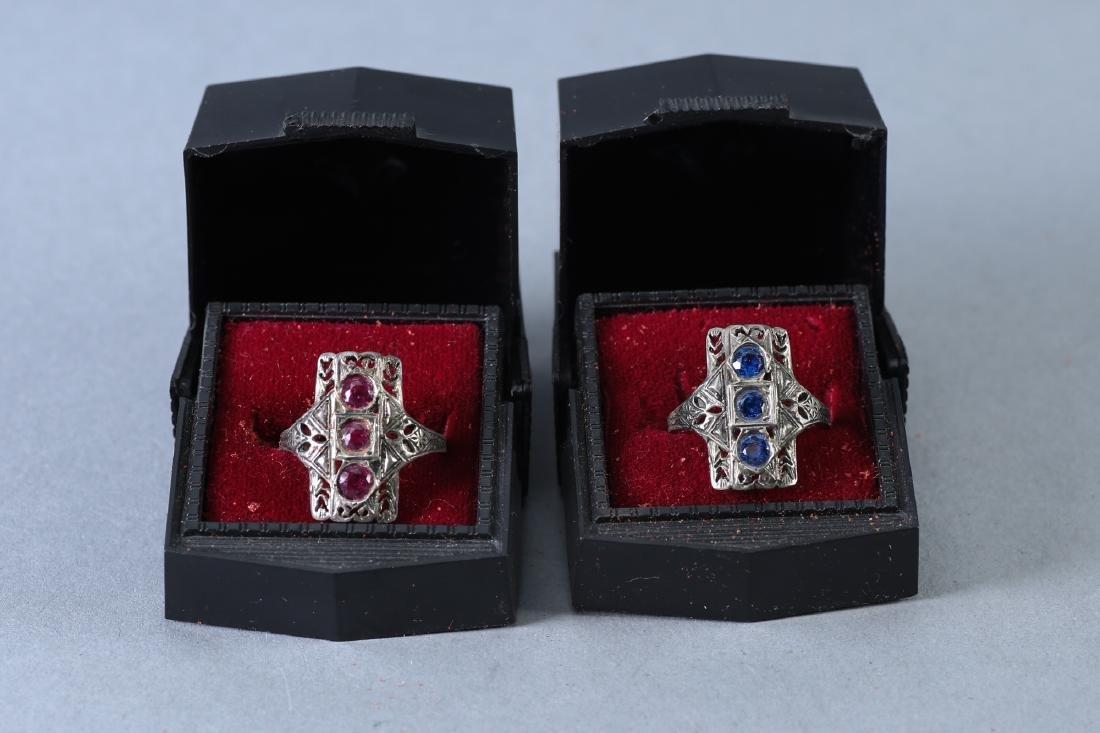 2 Beautiful Vintage Designer rings, Pink & Blue