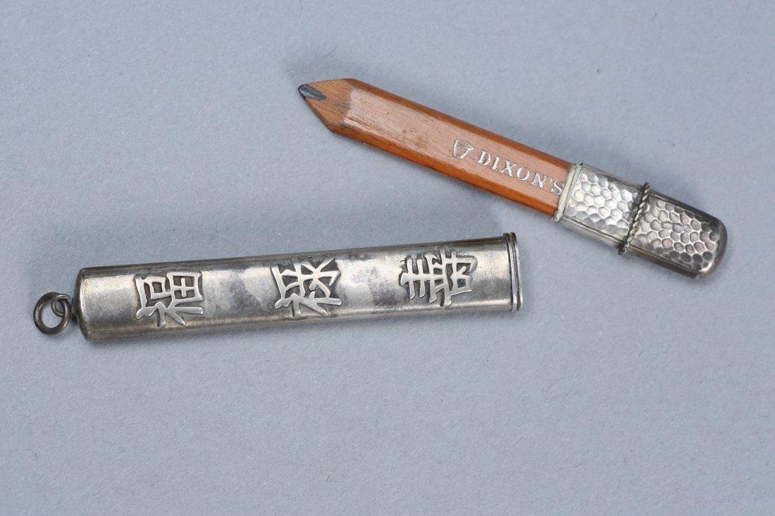 Antique Asian Inspired Sterling Pencil Holder - 3