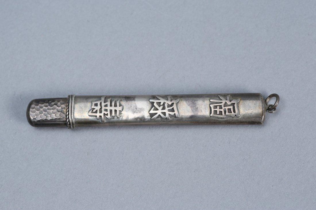 Antique Asian Inspired Sterling Pencil Holder - 4