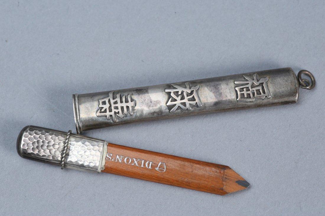 Antique Asian Inspired Sterling Pencil Holder - 6