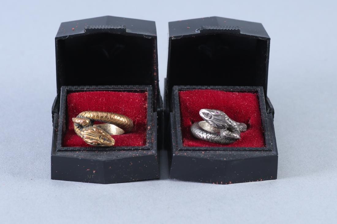 2 Vintage Snake Design Sterling Rings