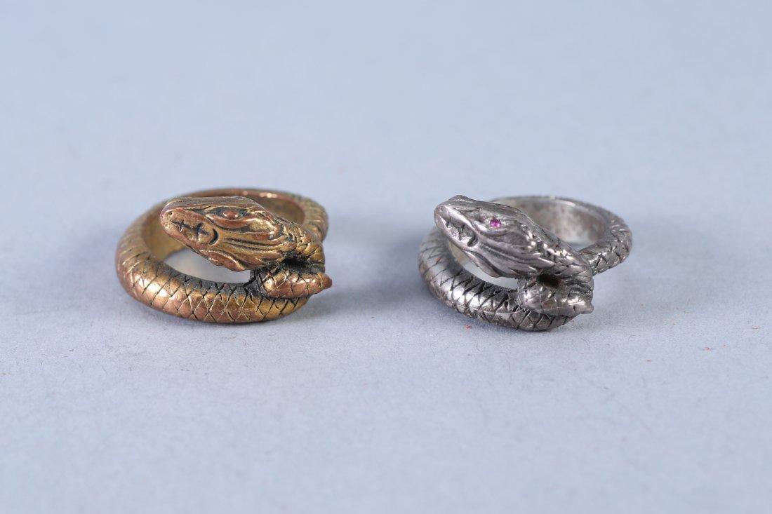 2 Vintage Snake Design Sterling Rings - 3