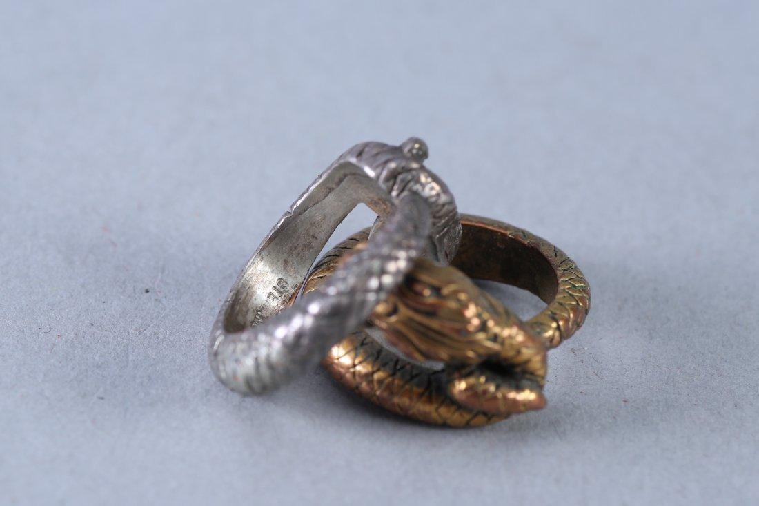 2 Vintage Snake Design Sterling Rings - 4