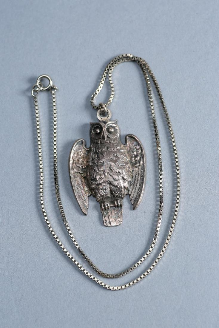 1 Sterling Silver Perched Owl Necklace