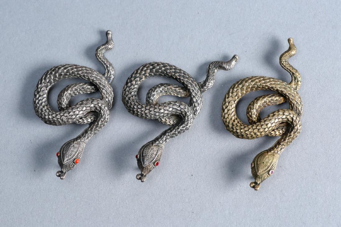 3 vintage pendant snakes by vintage designer sterling