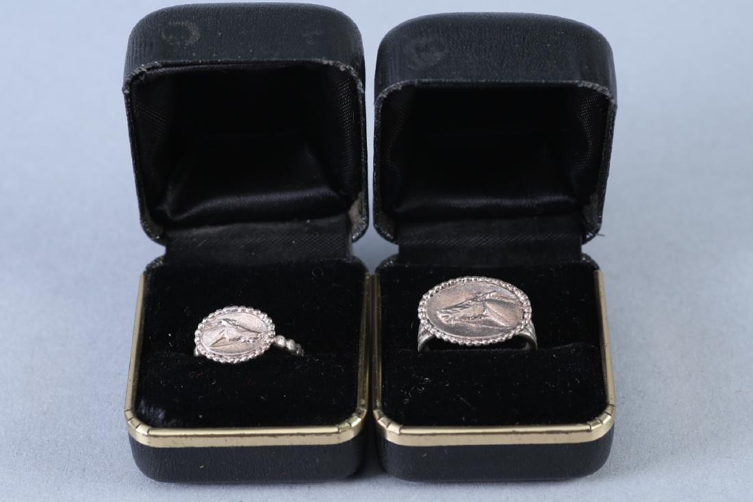2 Vintage Sterling Horse Rings