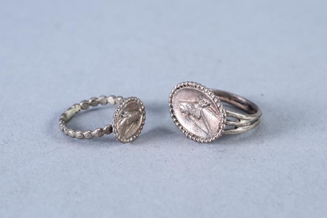 2 Vintage Sterling Horse Rings - 2