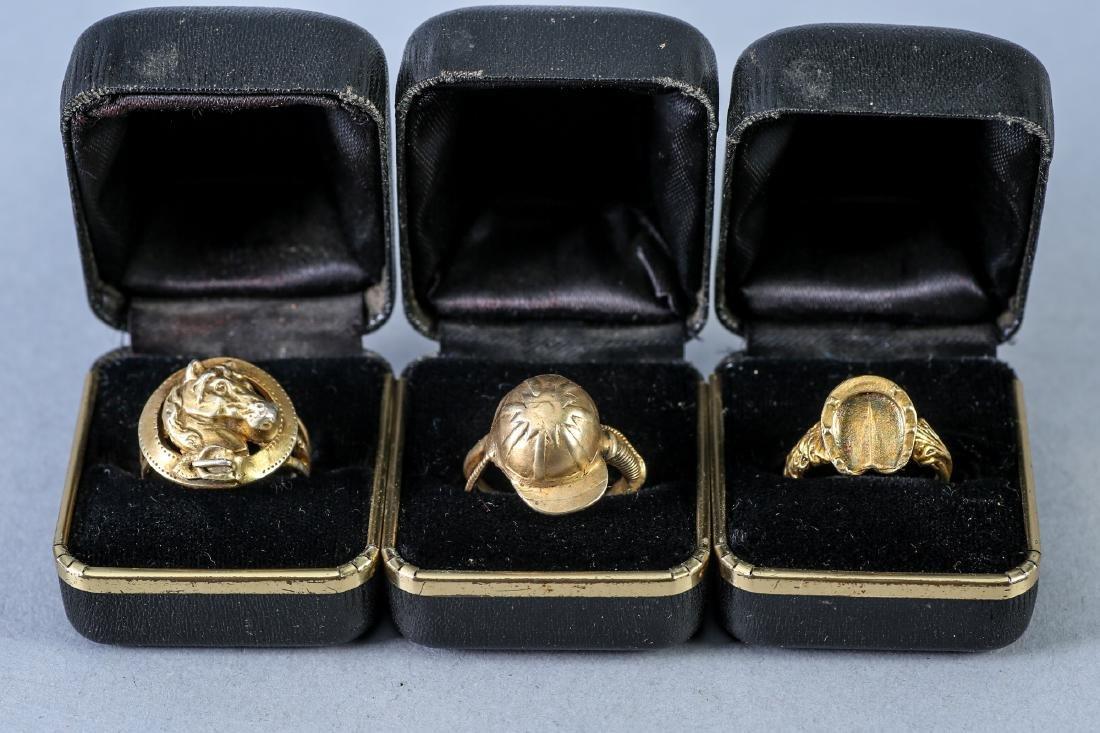3 Vintage Equestrian Sterling Rings